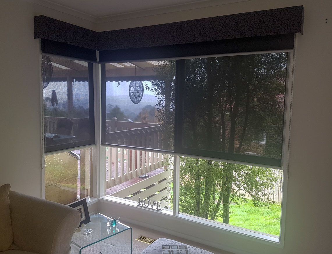 Blockout and Sheer Roller blinds with Pelmets