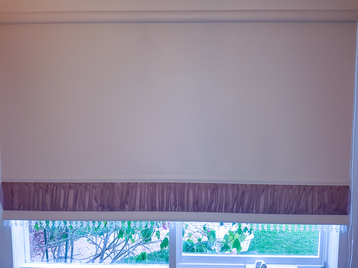 Roller Blind with Gathered base and trim