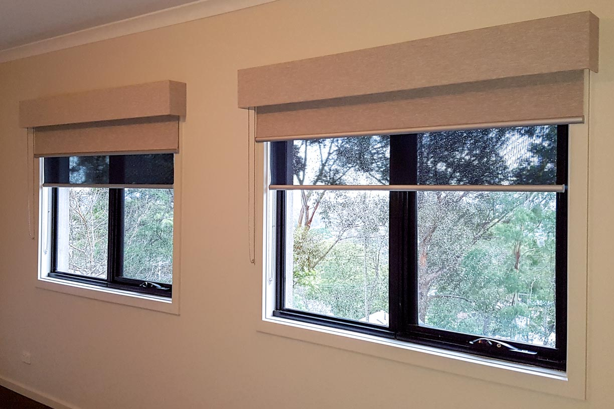 Sheer and Blockout Roller blinds with Pelmets