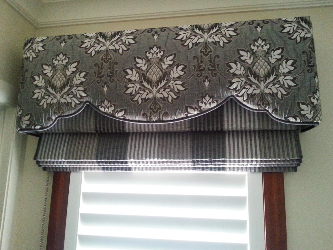 Padded & Shaped Pelmet over soft roman blinds