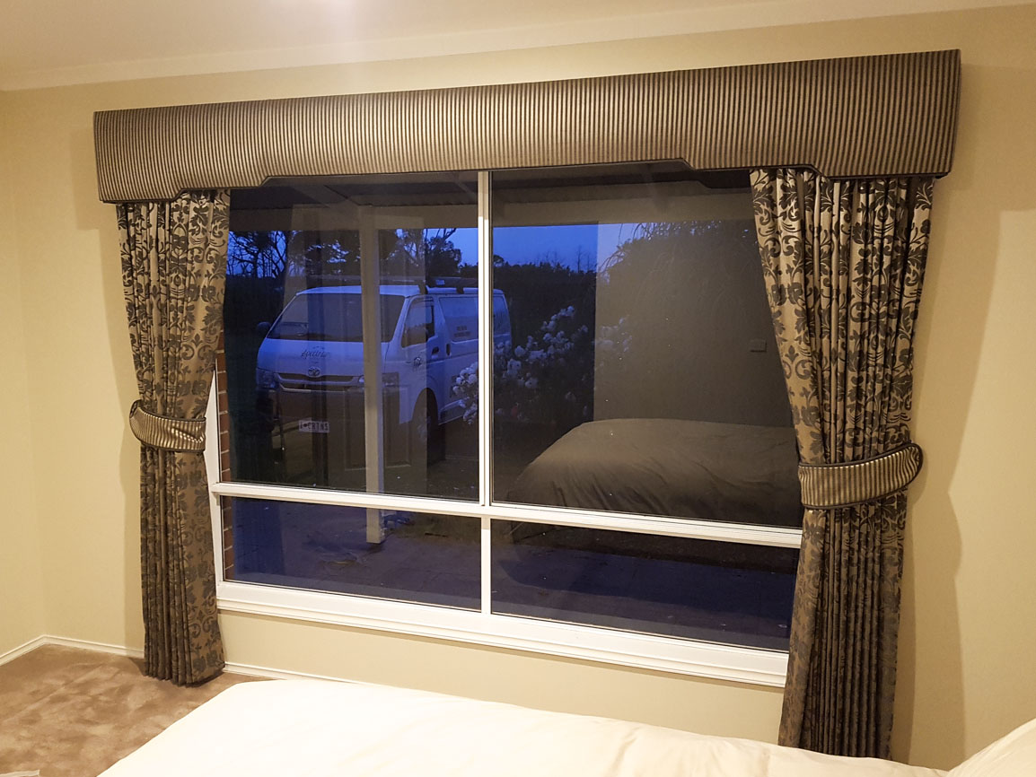 Padded & Shaped Pelmets over pinch pleated curtains, with ties matching pelmets