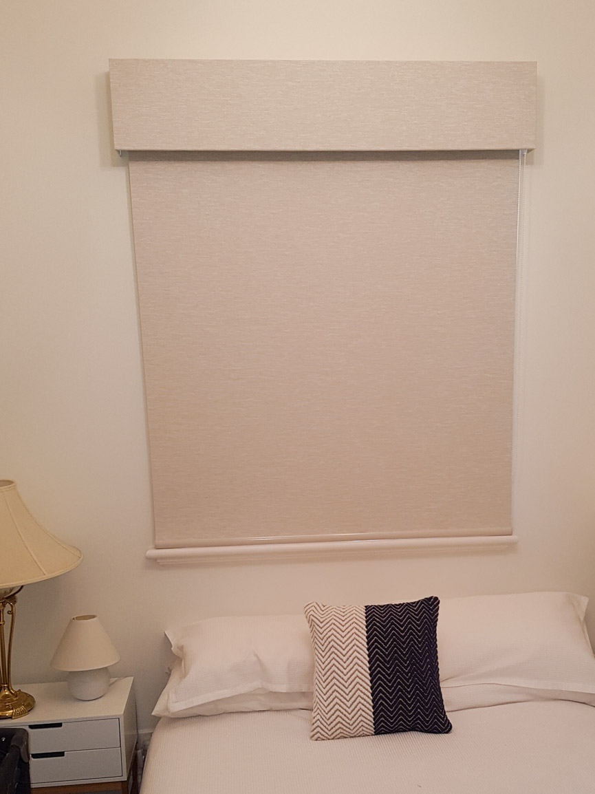 Blockout Roller blind and Bonded Pelmet in matching blind material