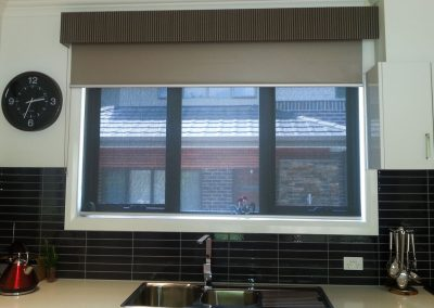 Blockout Roller blind with Bonded Pelmet in curtain material