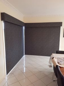 Blockout Roller blinds and Bonded Pelmets in matching blind material